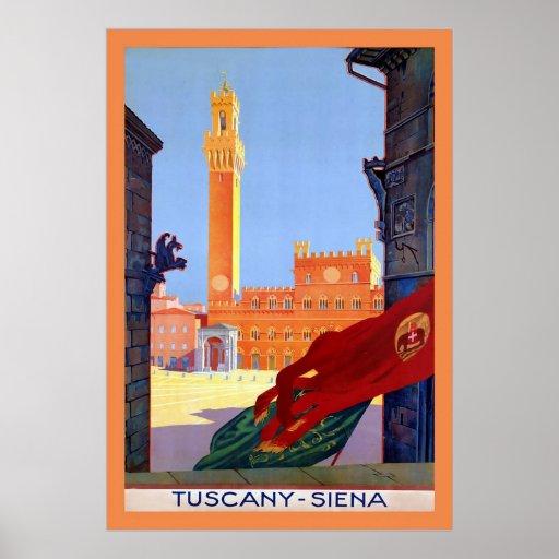 Tuscany ~ Siena ~ Vintage Italian Travel Poster