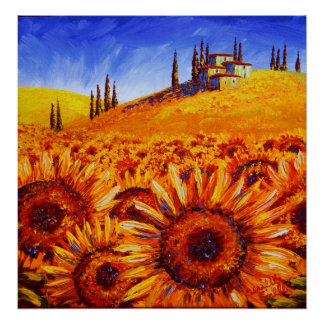Tuscany Sunflower Hills Poster