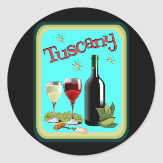 Tuscany Travel Poster Classic Round Sticker