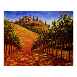 Tuscany Vineyard on the Hill Poster