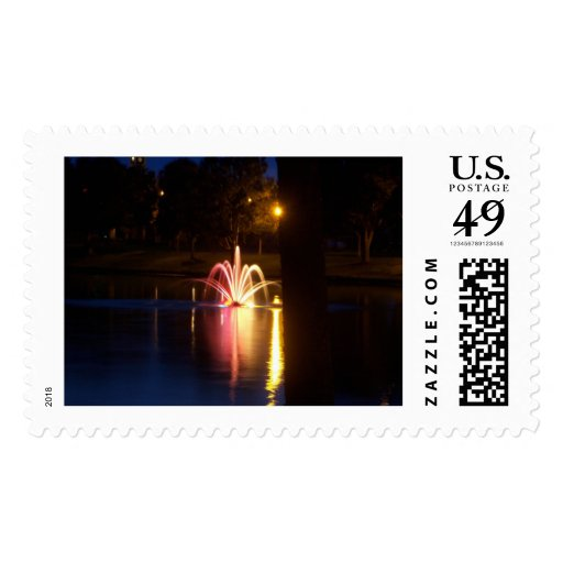 Tuscawilla Fountain at Night Postage Stamp