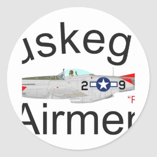 Tuskegee Airman P-51 Red Tails Mustang Classic Round Sticker