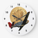 Tuskegee Metal of Honor/Red Tail Plane Round Wall Clock