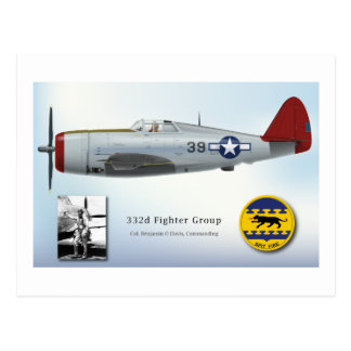 """Tuskegee """"Red Tail"""" P-47C Thunderbolt Postcard"""