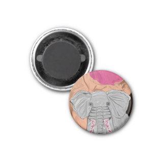 Tusk's Elephant Manicure 1 Inch Round Magnet