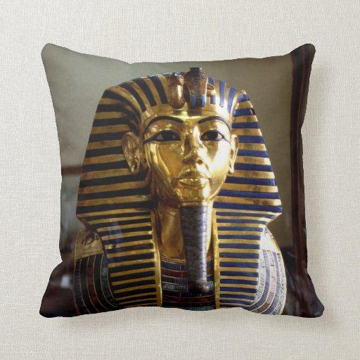 Tutankhamen mask Egypt Throw Pillows