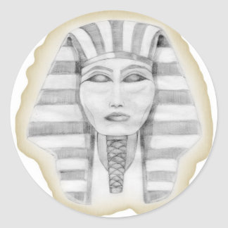 Tutankhamen (papiro) pegatina redonda