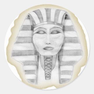 Tutankhamen (papyrus) classic round sticker