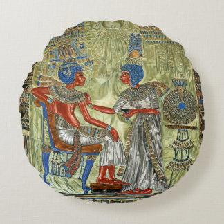 Tutankhamon's Throne Round Pillow