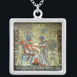 """Tutankhamon's Throne Silver Plated Necklace<br><div class=""""desc"""">This is an oil painting I made of the back of Tutankhamun&#39;s throne - 70 x 70 cm in size. Took me 350 hours to finish.</div>"""