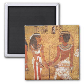 Tutankhamun  and his wife, Ankhesenamun 2 Inch Square Magnet