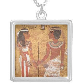 Tutankhamun  and his wife, Ankhesenamun Square Pendant Necklace