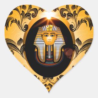 Tutankhamun, el pharaoh del agyptische pegatina en forma de corazón
