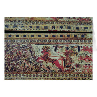 Tutankhamun  on his chariot attacking Africans Card