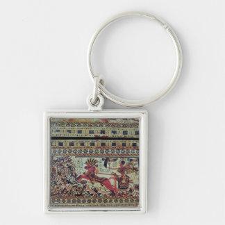 Tutankhamun  on his chariot attacking Africans Keychain