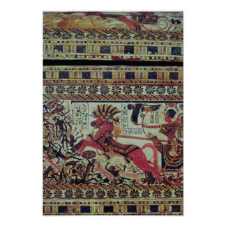 Tutankhamun  on his chariot attacking Africans Poster