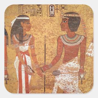 Tutankhamun y su esposa, Ankhesenamun Calcomanía Cuadradas Personalizadas