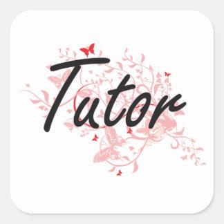 Tutor Artistic Job Design with Butterflies Square Sticker
