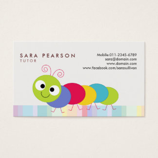Tutor Cute Colorful Caterpillar Business Card
