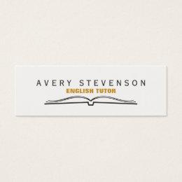 Tutor Open Book Mini Business Card