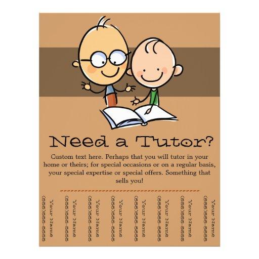 tutor tutoring promotional tear sheet flyer