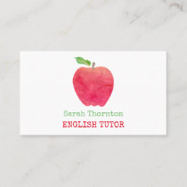 Tutoring Watercolor Red Apple Teacher Tutor Business Card