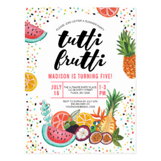 Tutti Frutti | Birthday Party | Invitation Postcard