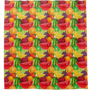 Tutti Frutti Bright Watermelons Kiwi Bananas Fruit Shower Curtain