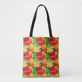 Tutti Frutti Bright Watermelons Kiwi Bananas Fruit Tote Bag