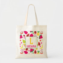 Tutti Frutti Fruit Pattern Personalized Girls Tote Bag