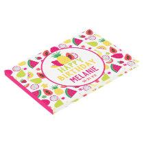 Tutti Frutti Fun Birthday Tropical Fruit Pattern Guest Book