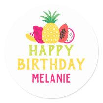 Tutti Frutti Tropical Fruit Birthday Party Classic Round Sticker