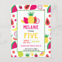 Tutti Frutti Tropical Fruit Birthday Party Invitation Postcard