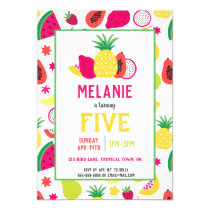 Tutti Frutti Tropical Fruit Girls Birthday Invitation