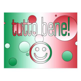 ¡Tutto Bene! La bandera de Italia colorea arte pop Tarjeta Postal