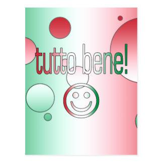 ¡Tutto Bene! La bandera de Italia colorea arte pop Tarjetas Postales