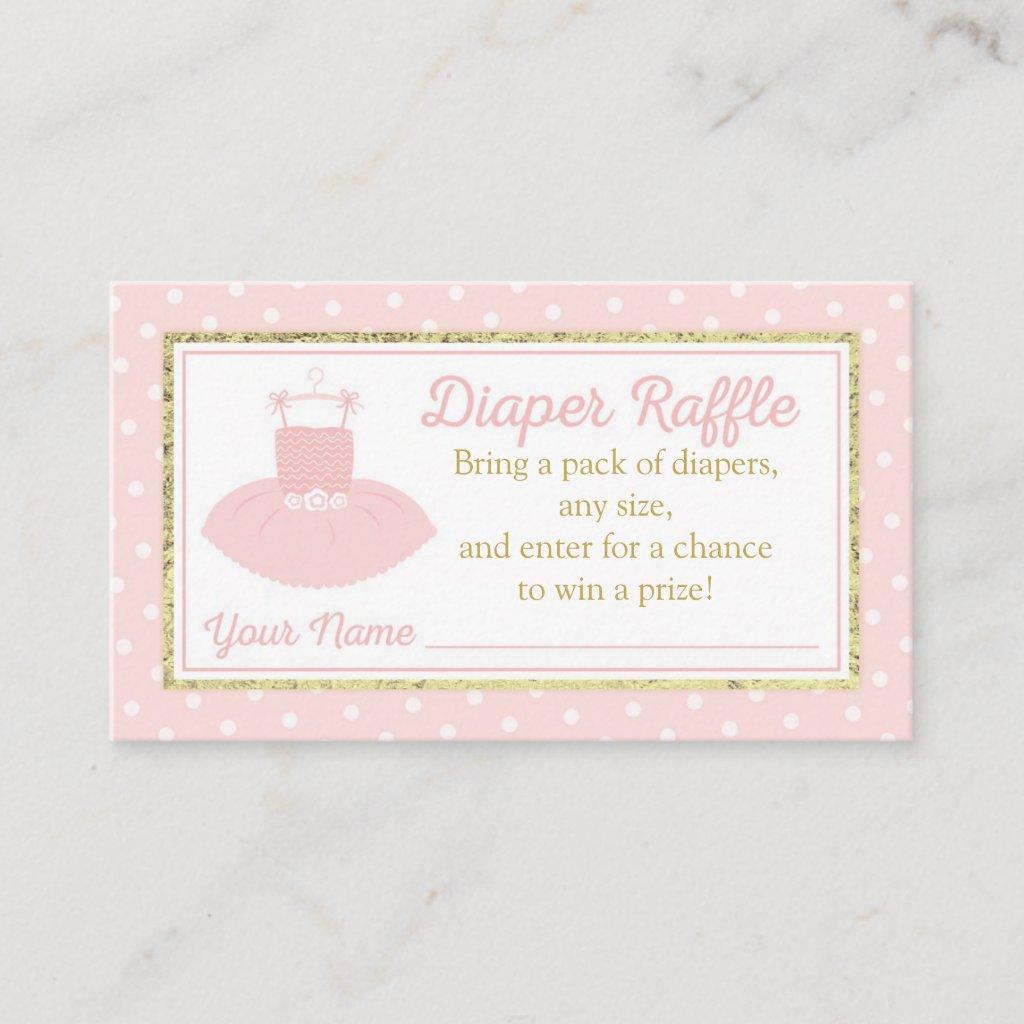 Tutu Baby Shower Diaper Raffle Ticket - Pink Gold Enclosure Card