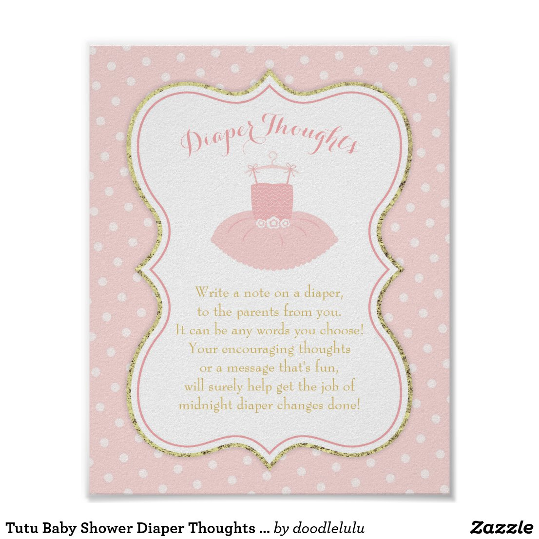 Tutu Baby Shower Diaper Thoughts Sign, Pink Gold Poster
