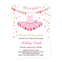 TuTu Baby Shower Invitation Girl Pink Gold Glitter