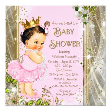 Tutu Baby Shower Pink Gold Card