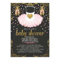 Tutu ballerina baby shower invitation, pink & gold card