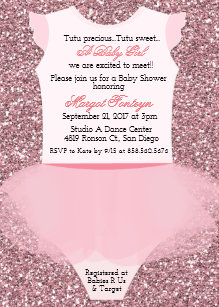 Tutu baby shower invitations announcements zazzle tutu ballerina glitter baby shower invitation filmwisefo