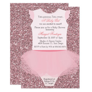 Tutu Ballerina Glitter Baby Shower Invitation