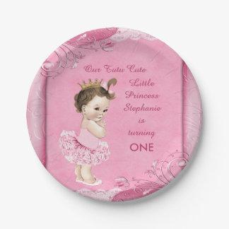 Tutu Cute 1st Birthday Brunette Princess Faux Lace Paper Plate