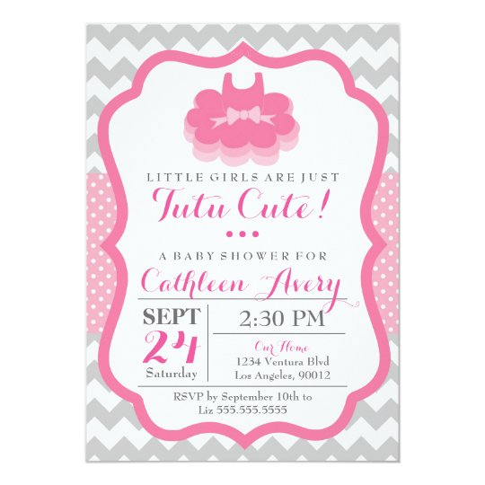 tutu cute baby shower invitation zazzle