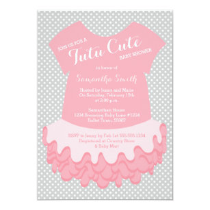Tutu Cute Baby Shower Invitation Pink And Grey