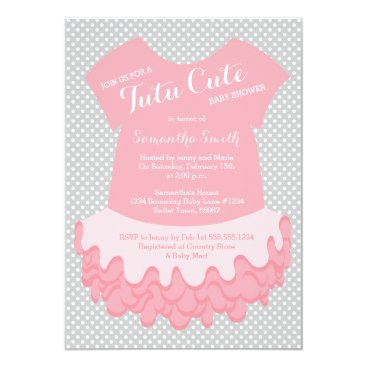 Toddler & Baby themed Tutu Cute Baby Shower Invitation Pink and Grey