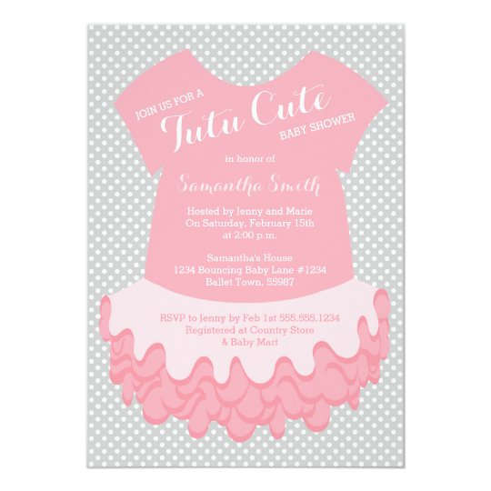 Tutu Cute Baby Shower Invitation Pink And Grey Zazzle