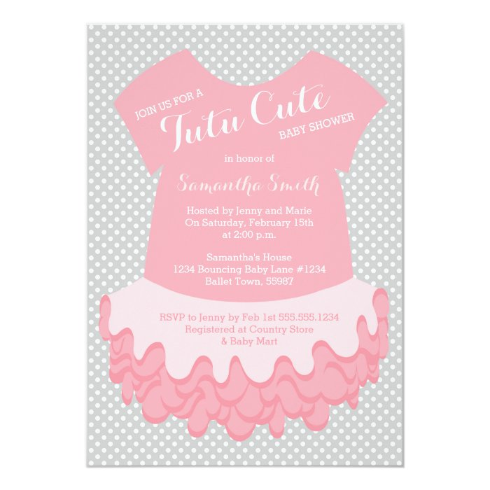 tutu cute baby shower invitation pink and grey zazzle