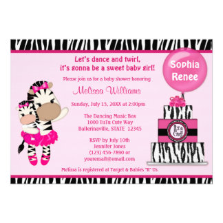 TuTu Cute Baby Shower invitation ZEBRA GIRL Mommy